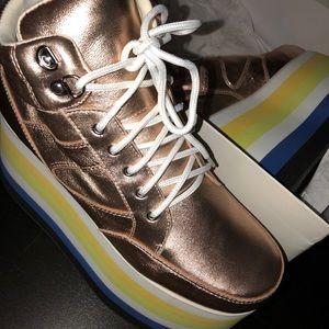 Shellys London Shoes - Shellys London Dema Rose Gold Leather Flatform 41